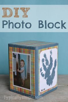 DIY Photo Block - use photos and scrapbook paper to personalize! A great gift for #fathersday or any other holiday