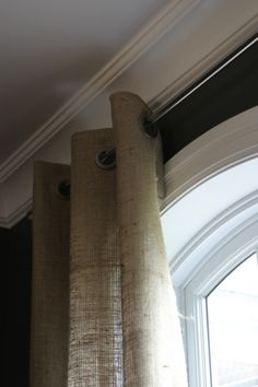 Easy DIY burlap curtains