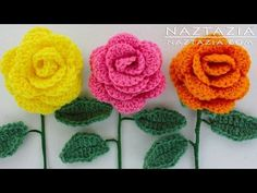 ▶ DIY Learn How to Crochet a Flower - Rose Bouquet Flowers Leaf Leaves Stem - YouTube