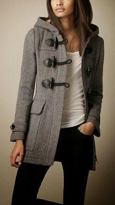 Dark Grey Burberry Toggle Coat
