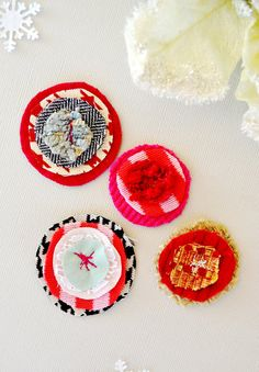 Merry and Bright Fabric Flower Embellishments by citronfaire, $4.20
