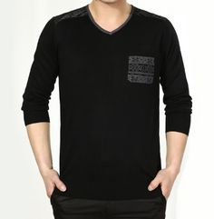 Mens Sweater with Printed Pocket
