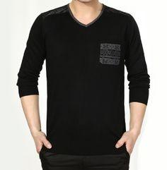 men sweater, print pocket
