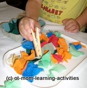 Use clothes pins to pick up small objects - Re-pinned by #PediaStaff.  Visit http://ht.ly/63sNt for all our pediatric therapy pins