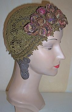 Antique Gold Metallic Lace Juliette Cap Hat Headpiece Lame Flowers.