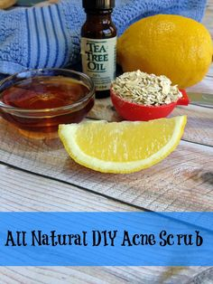 Ingredients 1 TBSP fresh lemon juice 3 TBSP honey 2 drops tea tree oil 1 to 2 TBSP ground oatmeal (to desired consistency) Instructions Combine all ingredients in a small bowl and mix well. To use, wet face with warm water Rub acne scrub gently over face Rinse completely with warm water Pat dry Use daily for treatment of acne or as needed. If skin gets too dry, use less frequently.