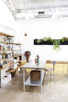 shelving. garden. white walls. crates.