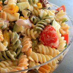 No Mayo Easy Pasta Salad Allrecipes.com  Yummy, but I'd go a little easy on the dressing...she recommends quite a bit more than I ended up putting in.  Made it!