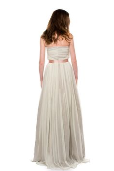 Vintage Chiffon Wedding Dress Ivory Grey Custom Made to by AvailCo