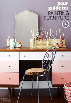 Make a piece of furniture completely your own with this guide to painting furniture. Watch the video here: http://www.bhg.com/videos/m/44397288/your-guide-to-painting-furniture.htm?socsrc=bhgpin011914paintingfurniture