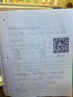 QR codes glued into student notes that link to video examples..awesome idea!  School house rock/flocabularyvideos : )