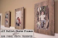 GREAT blog! DIY Pallet Photo Frames with modge podge