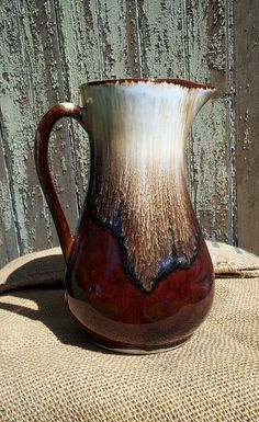 Roseville Robinson Ransbottom Ohio Co. Pottery U.S.A. Brown Drip Milk Pitcher