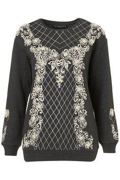topshop pearl embellished sweatshirt