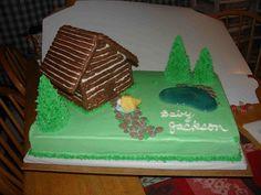 babi showerthi, cake idea, cabin cake, bake idea, log cabins, cabin parti, birthday cake, cabin theme, baby showers