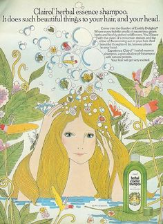 Beautiful things for your hair and your head. Clairol Herbal Essence Shampoo.    From 'Teen, August 1975