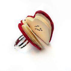 Valentine Gift Red Heart Love Ring  mini handbound by ChezMargot, $12.00