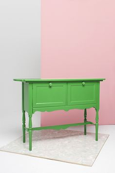 How To Paint Furniture Like A Pro  #refinery29  http://www.refinery29.com/furniture-painting#slide9  The Neon Credenza  First, sand the credenza and remove any hardware (knobs, etc.). Use your roller to paint all the large surfaces, and then go over the smaller areas with a brush. Take a nap, let it dry, and paint your second coat.  Neons are the new neutrals, so this is as versatile as a black or white piece, but it feels edgier.