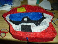Transformers Rescue Bots Heatwave Pinata  I made this myself! Check out my blog to see how to make your own rescue bots pinata