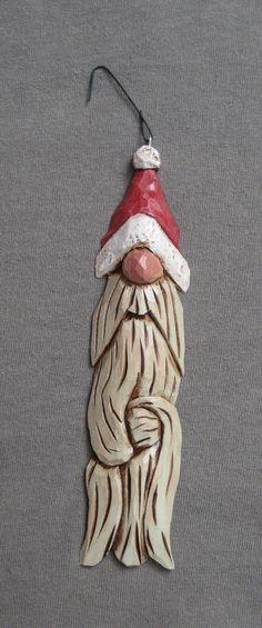 Hand carved Santa Tree Ornament $15.00, via Etsy