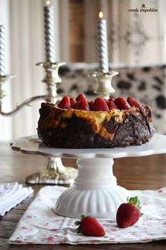 Brownie Cheesecake with Strawberries