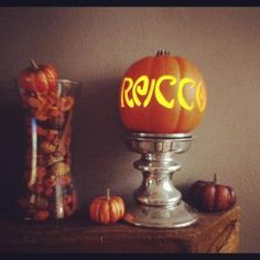 Small Personalized Pumpkin with flameless candle by dramaqweenpk, $15.00