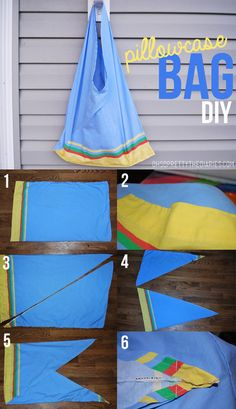 DIY Easy Pillowcase Tote Bag Tutorial from Oh So Pretty here.