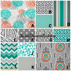 Custom Crib Bedding You Design   Bumper and Bedskirt in  teal orange and gray on Etsy, $229.00
