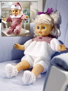 """Dolly will be dressed in her bedtime best with these charming pajama sets worked in medium-weight yarn. Size: fits 18"""" doll.Skill Level: Easy"""