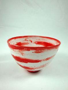 Handmade White and Red Stripe Majolica Bowl  by AtwaterCeramics on Etsy    Olia Lamar