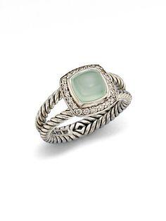 David Yurman - Diamond Accented Aqua Chalcedony Ring - Saks.com