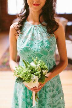mint green bridesmaid dress http://www.weddingchicks.com/2013/10/15/vintage-la-wedding/