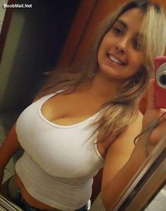 Busty selfy from teen in white tank top