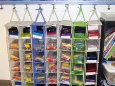 Use shoe organizers to hold teacher and/or student supplies... multiple possibilities. school supplies storage, teacher storage ideas, storage classroom, small ideas closet shoes, teacher stuff, classroom storage ideas, hanger storag, organizing student supplies, classroom organization