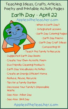 Earth Day teaching ideas, crafts, articles, poetry and printable activity pages.