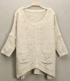 Beige V Neck Batwing Sleeve Pockets Loose Sweater US$22.80