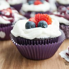 Chocolate Berries and Cream Cupcakes for the perfect light summer cupcake.