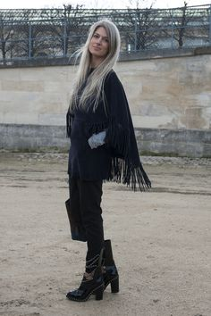 Sarah Harris in Chanel boots and a little fringe  - Paris Fashion Week #StreetStyle Fall 2014 #PFW