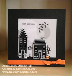 A challenge card that's a 'little bit different'....using 'Holiday Home' Stamp set from the Stampin' Up! Holiday catalog 2014. Pop a battery tea light inside and the scene lights up! #stampinup #holidayhome #cardwithtealight #creatinwithkirsteen #lightupcard #halloweencard