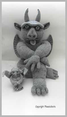 Knitted gargoyle--makes me laugh (pattern for sale)