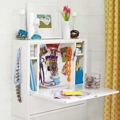 Add a fold-up vanity to your wall if you're low on space! http://www.bhg.com/decorating/storage/organization-basics/slivers-of-space-storage/?socsrc=bhgpin072514bedroomvanity&page=8