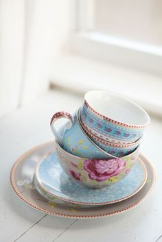 Sweet teacups and saucers