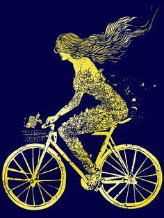 mermaid and her bike art print