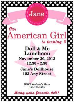 American Girl Birthday Party Invitation Printable
