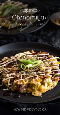 Okonomiyaki Recipe - Hungry? Whip up your very own homemade okonomiyaki - Japanese Savoury Pancakes - packed with mouth-watering flavour and just perfect for a quick and easy dinner or snack. via @wandercooks
