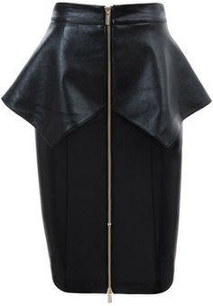 'Dahna' Black Leatherette Peplum Pencil Skirt