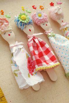 Wooden fork dolls