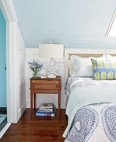 i love the idea of you painting the ceiling of the loft a different color than the walls...