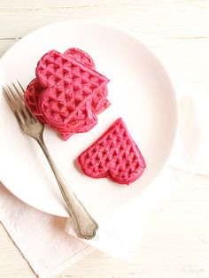 Pink heart waffles for Valentines day