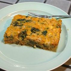 Spinach and Egg Casserole. An excellent brunch idea - http://allrecipes.com/recipe/egg-and-spinach-casserole/detail.aspx